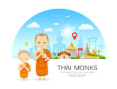 Vector Thai monks and Thai novice with Thailand Place of respect for faith architecture design on blue background illustration