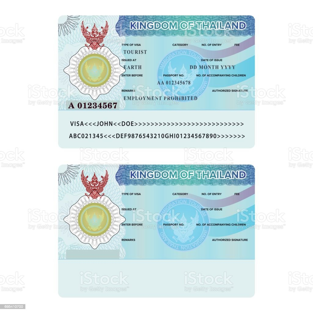 Vector Thailand International Passport Visa Sticker Template In Flat Style  Stock Illustration - Download Image Now