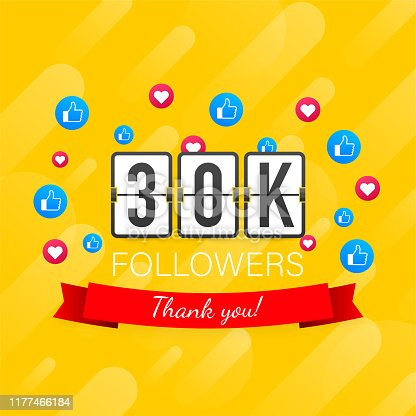 Vector thanks design template for network friends and followers. Thank you 30K followers card. Image for Social Networks.