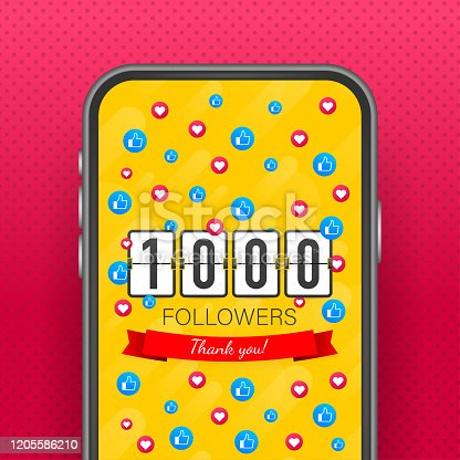 Vector thanks design template for network friends and followers. Thank you 1000 followers card. Image for Social Networks