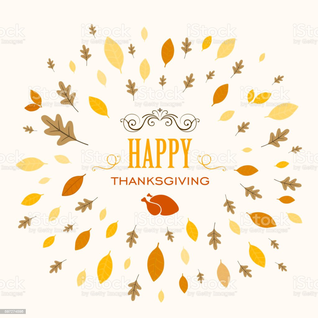 Vector Thanksgiving Background Design with Autumnal Leaves Lizenzfreies vector thanksgiving background design with autumnal leaves stock vektor art und mehr bilder von blatt - pflanzenbestandteile