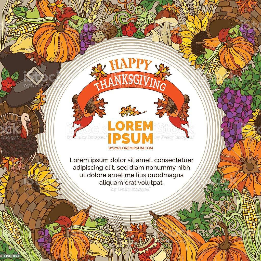 Vector Thanksgiving background. vector art illustration