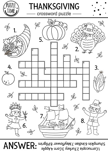 Vector Thanksgiving black and white crossword puzzle for kids. Simple line autumn quiz with traditional symbols for children. Coloring activity with turkey, pilgrim, pumpkin. Fall holiday cross word.