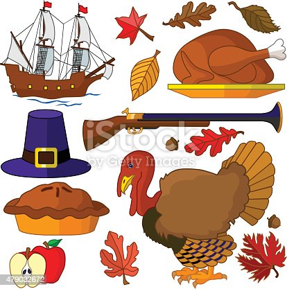 A vector illustration of Thanksgiving design elements in color featuring the pilgrim's Mayflower ship, a roasted turkey, a live turkey, a pilgrim hat, an apple pie and an apple with various autumn leaves.