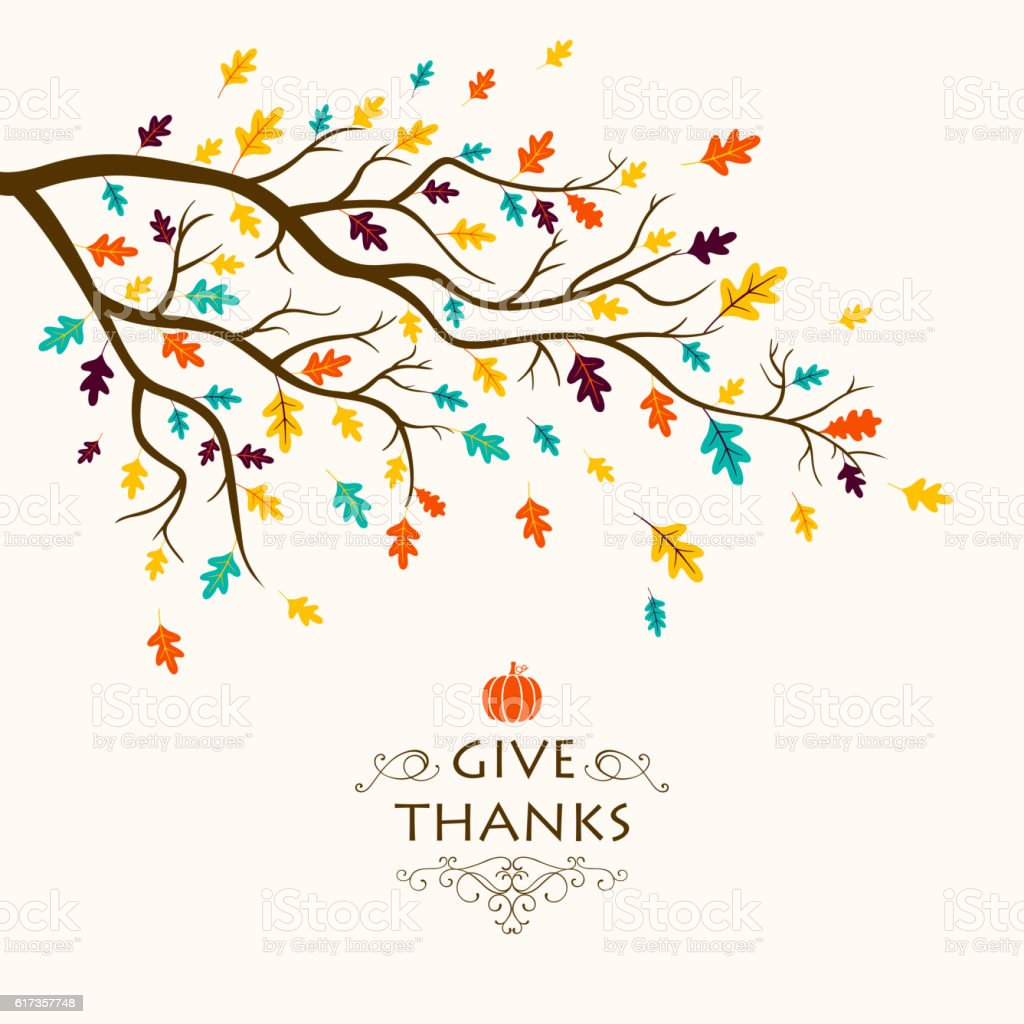 Vector Thanksgiving Design with Autumnal Branch vector art illustration