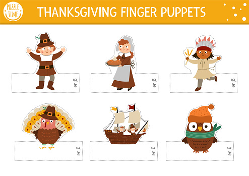 Vector Thanksgiving finger puppets set. Cute paper doll turkey, pilgrim, native American Indian, owl for kids. Autumn Fall holiday cut out craft cards. Simple educational printable game.
