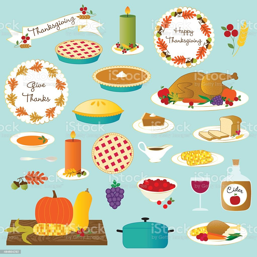 vector thanksgiving food vector art illustration