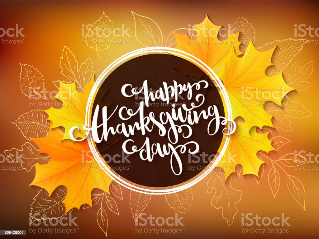 Vector Thanksgiving Greeting Card With Hand Lettering Label Happy
