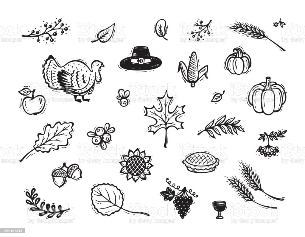 Vector Thanksgiving Icon Set Autumn Harvest Symbols Fall Collection