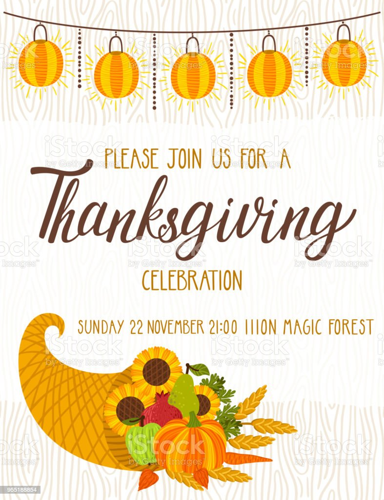 vector thanksgiving invitation template invite for harvest
