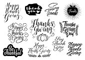 Group of lettering greetings for Thanksgiving holiday