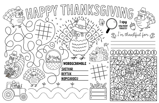 Vector Thanksgiving placemat for kids. Fall holiday printable activity mat with maze, tic tac toe charts, connect the dots, find difference. Black and white autumn play mat or coloring page