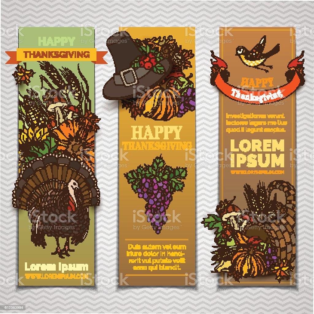 Vector Thanksgiving vertical banners set. vector art illustration