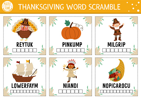 Vector Thanksgiving word scramble activity cards. English language game with cute turkey, pumpkin, pilgrim for kids. Autumn Fall holiday family quiz. Simple educational printable worksheet.