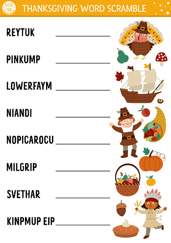 Vector Thanksgiving word scramble activity page. English language game with cute turkey, pumpkin, pilgrim for kids. Autumn Fall holiday family quiz. Simple educational printable worksheet.