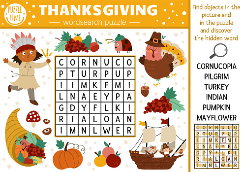 Vector Thanksgiving wordsearch puzzle for kids. Simple autumn camp crossword with traditional symbols for children. Educational keyword activity with turkey, pilgrim, pumpkin, American.