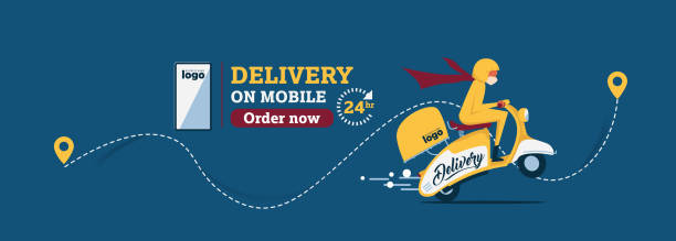 Vector The food delivery man ride yellow scooter to deliver food.Instagram Posts Featuring Food Delivery.Online Delivery Service Web Banner.E-commerce concept. vector art illustration