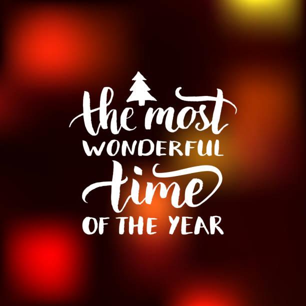 向量在一年中最美妙的時間字體設計在模糊的背景。耶誕節或新年排版。 - 宏偉的 幅插畫檔、美工圖案、卡通及圖標