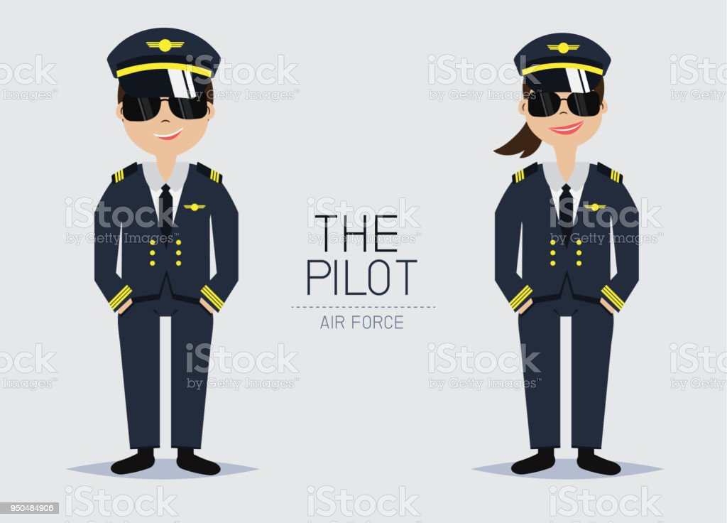 Vector The Pilot Officer with Uniform,Smart style,Cartoon Character design.