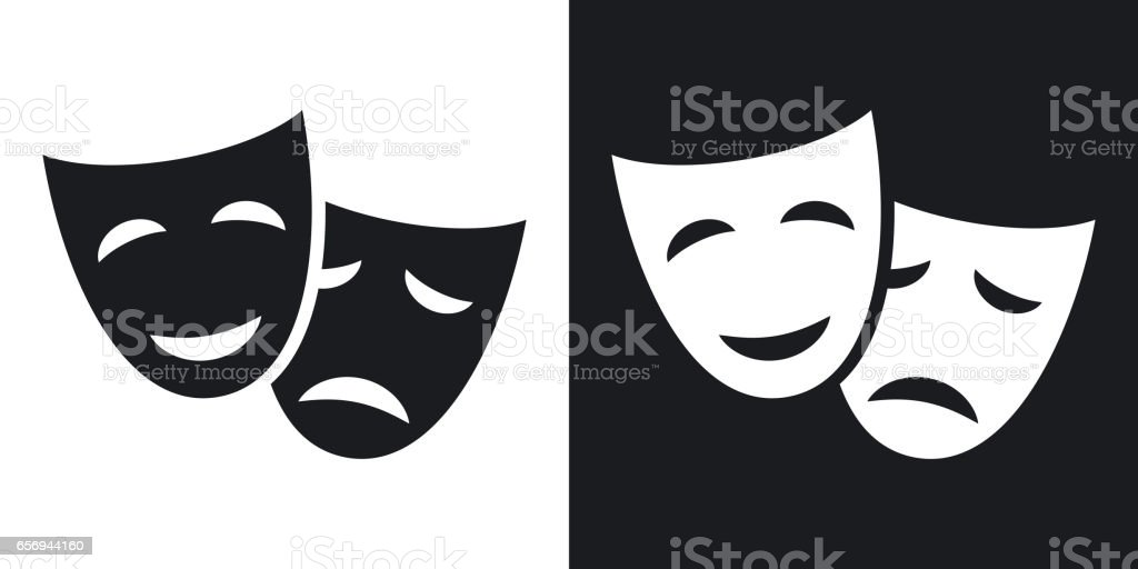 Vector theatrical masks icon. Two-tone version vector art illustration