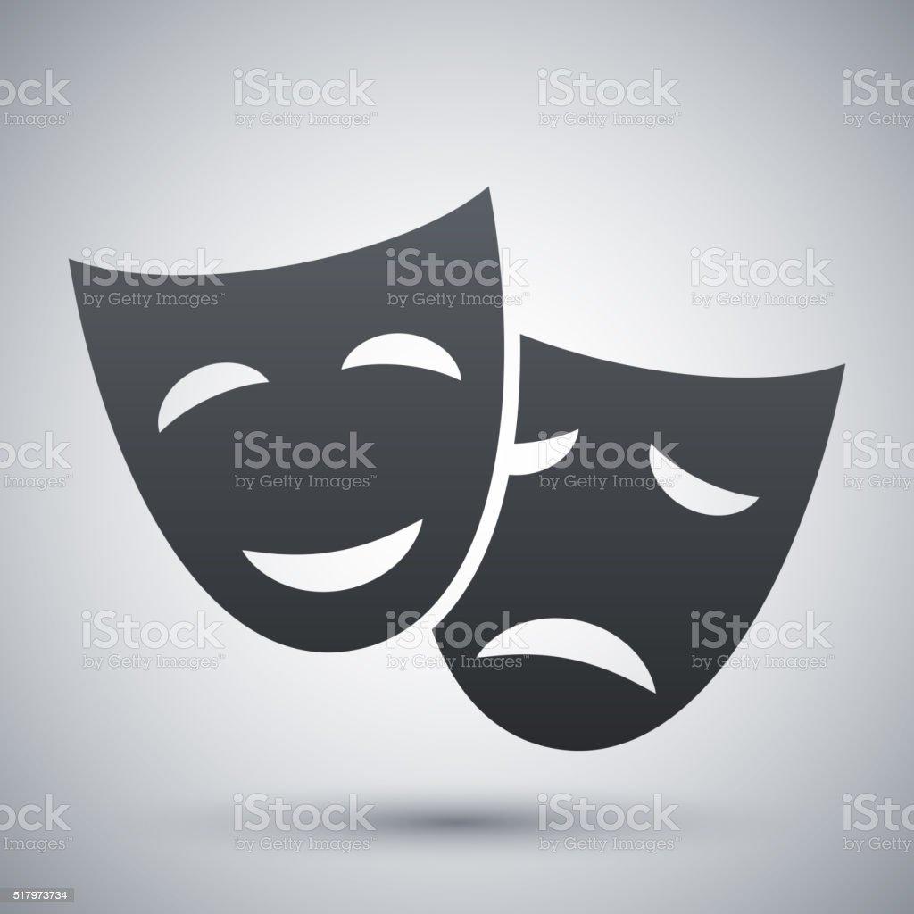 Vector theatrical masks icon vector art illustration
