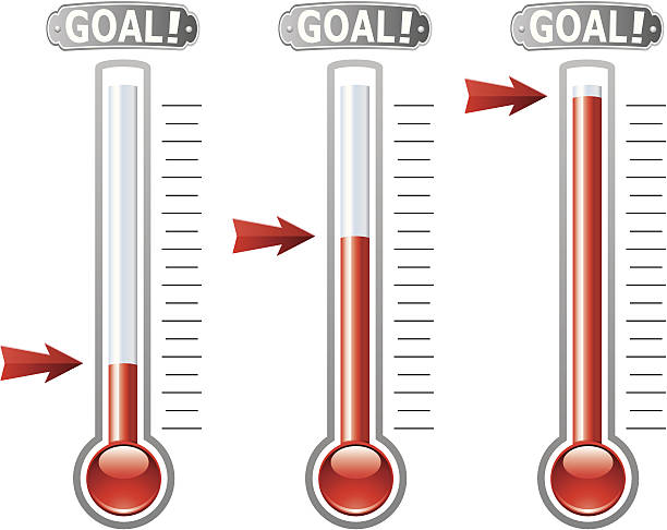 Vector thermometers exemplifying various financial goals vector art illustration
