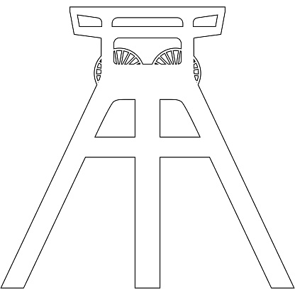 Vector thin line coal mine headframe icon isolated on white background