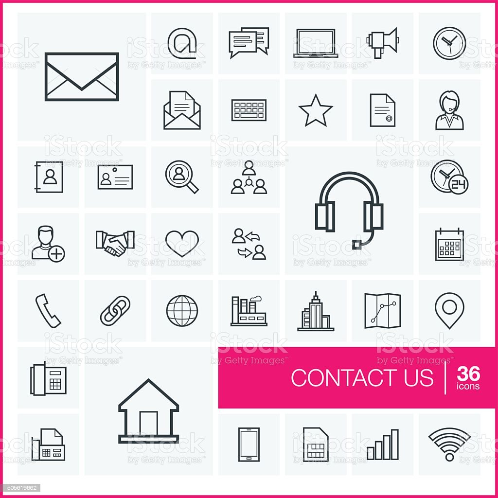 Vector thin line communication icons set and graphic design elements vector art illustration