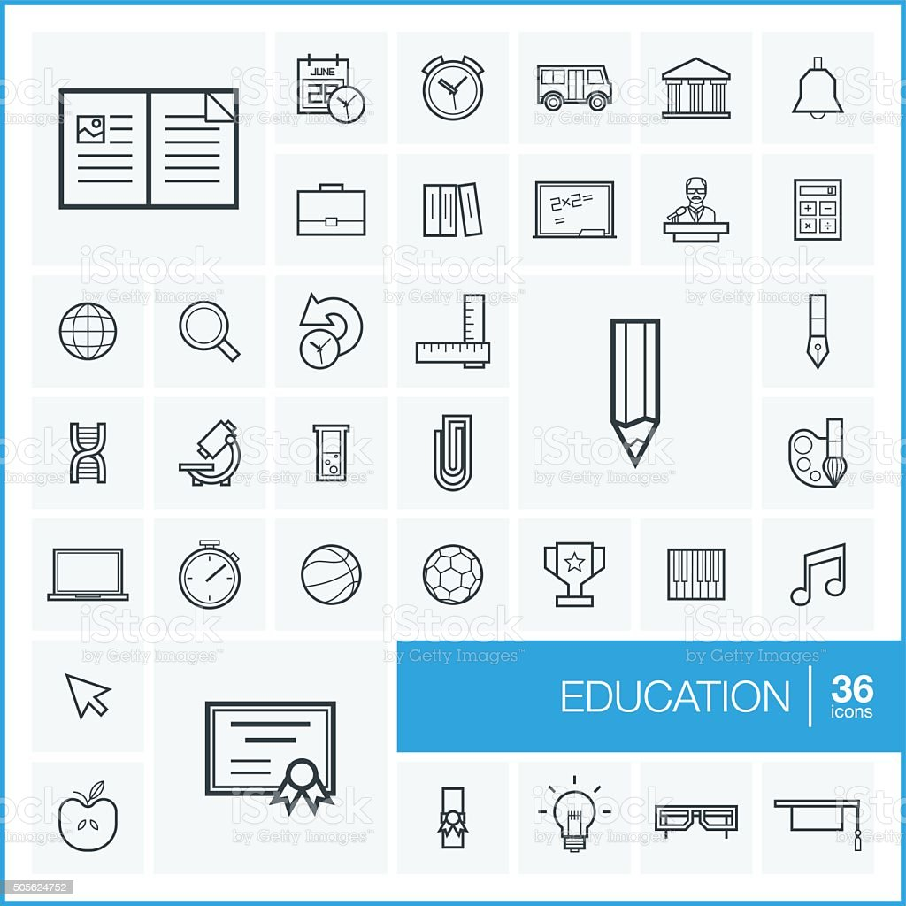 Graphic Design Elements Line : Vector thin line education icons set and graphic design