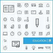 Vector thin line education icons set and graphic design elements