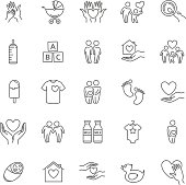 vector thin line family and children icon set for your design