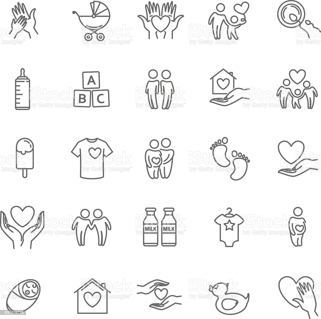 vector thin line family and children icon set vector art illustration
