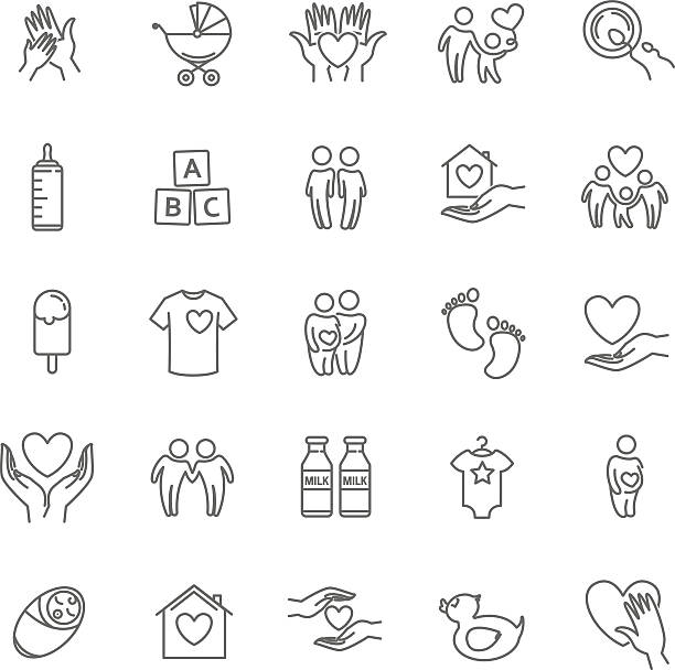 vector thin line family and children icon set - babysitter stock illustrations, clip art, cartoons, & icons
