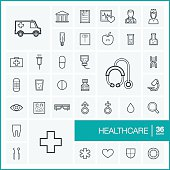 Vector thin line healthcare icons set and graphic design elements