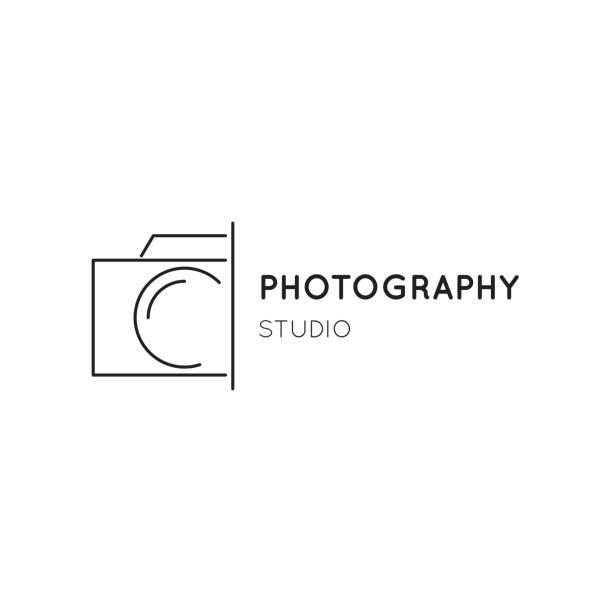 vektor dünne linie icon, kamera silhouette. logo-vorlage. - fotografische themen stock-grafiken, -clipart, -cartoons und -symbole