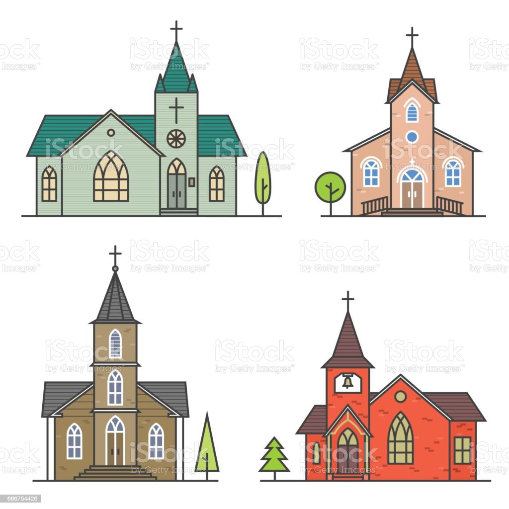 Vector thin line icon church vector art illustration