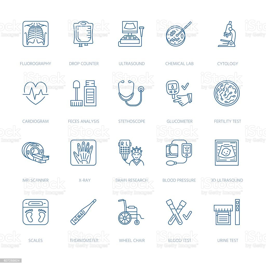 Vector thin line icon of medical equipment, research. Check-up vector art illustration