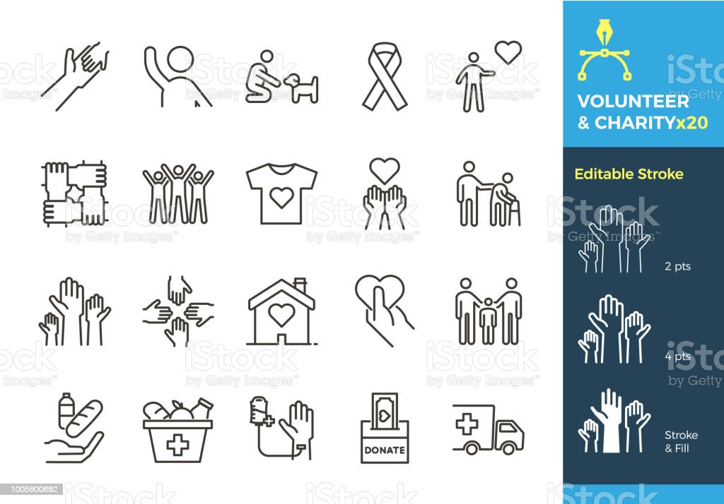 Vector thin line icons related with humanitarian causes - volunteering, adoption, donations, charity, non-profit organizations. The stroke is editable to different sizes and easily changed into flat. royalty-free vector thin line icons related with humanitarian causes volunteering adoption donations charity nonprofit organizations the stroke is editable to different sizes and easily changed into flat stock illustration - download image now