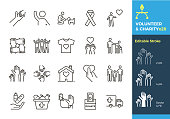 Vector thin line icons related with humanitarian causes - volunteering, adoption, donations, charity, non-profit organizations. The stroke is editable to different sizes and easily changed into flat.