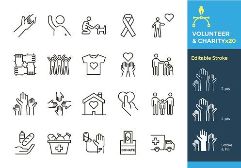 ベクトルのアイコンを細い線関連人道原因 採用寄付慈善団体非営利団体ボランティア活動しますストロークが異なるサイズに編集可能で簡単にフラットに変更されました - アイコンのベクターアート素材や画像を多数ご用意
