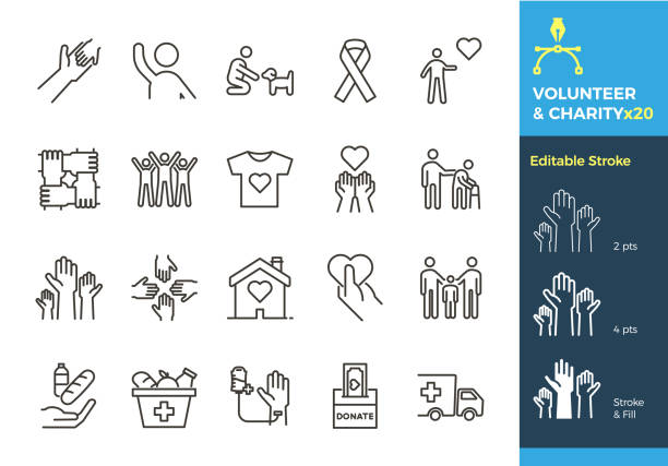 vector thin line icons related with humanitarian causes - volunteering, adoption, donations, charity, non-profit organizations. the stroke is editable to different sizes and easily changed into flat. - social stock illustrations, clip art, cartoons, & icons