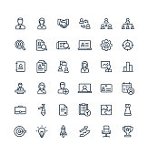 Vector thin line icons set business and management outline symbols.