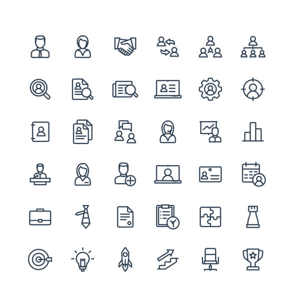 Vector thin line icons set business and management outline symbols. Vector thin line icons set and graphic design elements. Illustration with business and management outline symbols. Marketing research, strategy, work people, career, job interview linear pictogram conceptual symbol stock illustrations