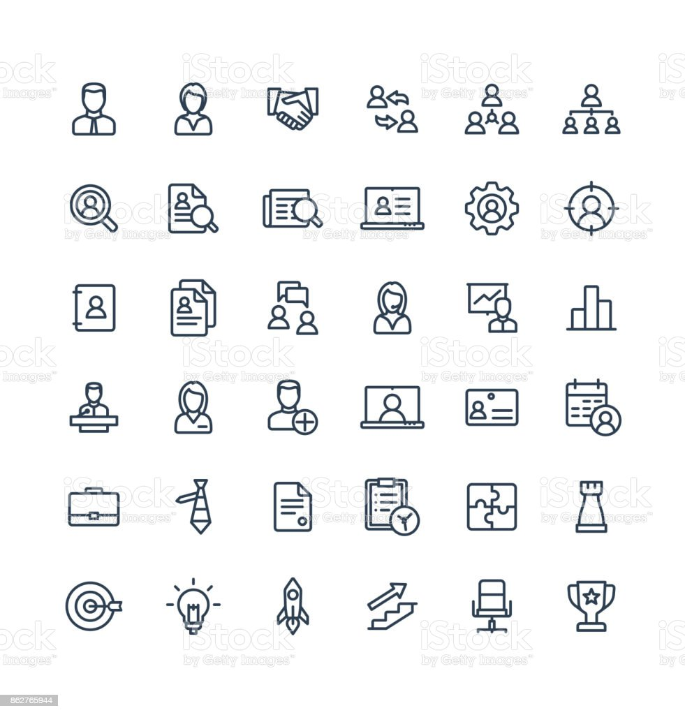 Vector thin line icons set business and management outline symbols. vector art illustration