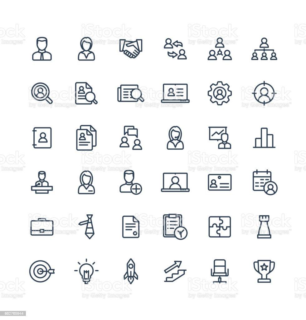 Dünne Linie Vektor-Icons set Business und Management Gliederungssymbole. – Vektorgrafik