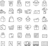 Vector thin line icons set for logistics, delivery and shipping