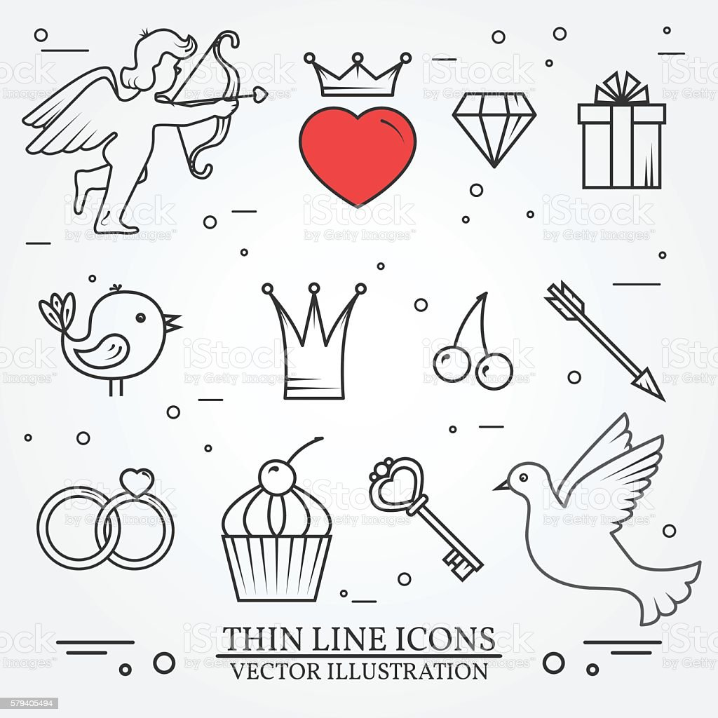 Vector thin line icons set for Saint Valentine's day - ilustración de arte vectorial