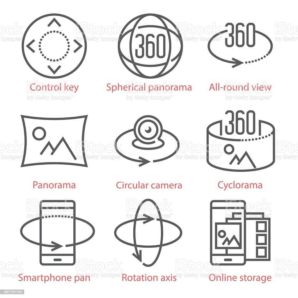 Vector thin line icons set with 360 Degree View, 3D – Vektorgrafik