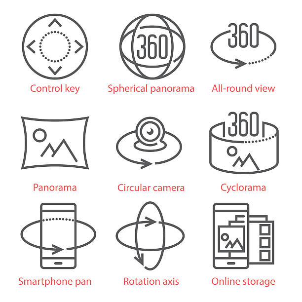 vector thin line icons set with 360 degree view, 3d - panorama stock-grafiken, -clipart, -cartoons und -symbole