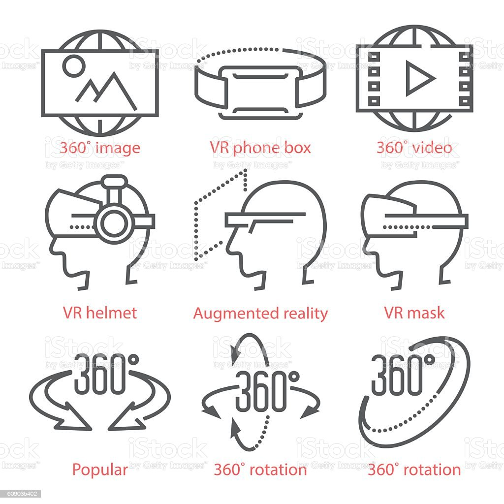 Vector thin line icons set with 360 Degree View Icons vector art illustration